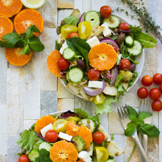 Orange Lentil Greek Salad