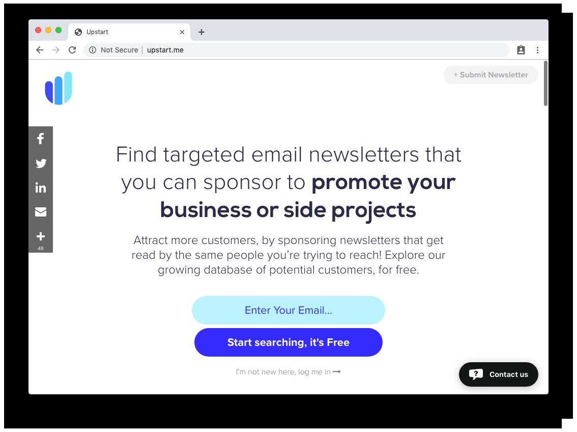 Upstart home page.