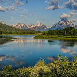 by Brian Menasco - Landscapes Waterscapes ( mountains, reflection, grand teton, clouds, lake,  )