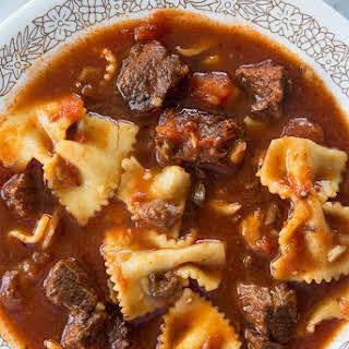 Beefy Pasta Puttanesca Soup.