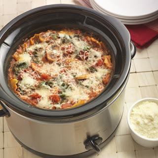 Slow Cooker Mushroom Spinach Lasagna