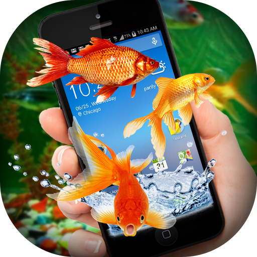 Fish on Screen Aquarium Joke -Golden Fish on Phone
