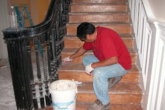 Photo: September 2006 - Month 37: Leo preparing the stairs for sanding