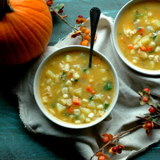 Smoky and Sweet Chicken and Pumpkin Corn Chowder