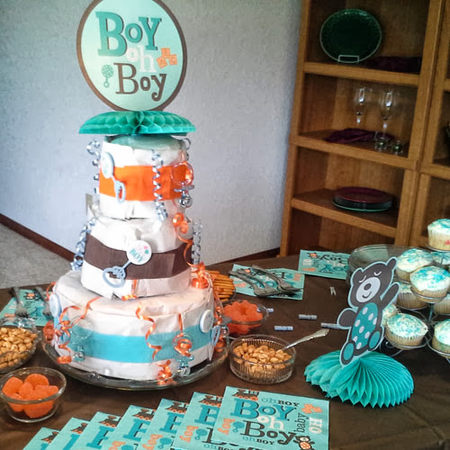 Photo: We love the way they used some of the Boy Oh Boy! party supplies and created a DIY Diaper Cake! http://goo.gl/VrVKwC
