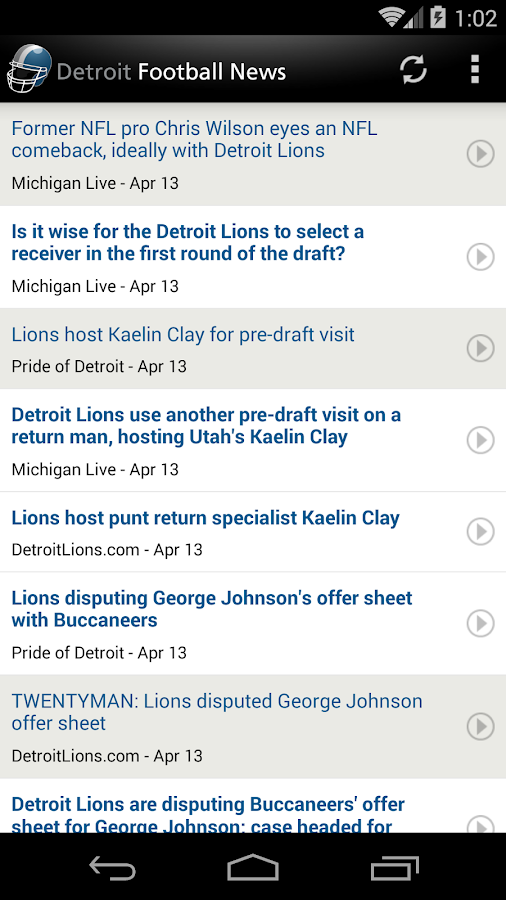 Detroit Football News- screenshot