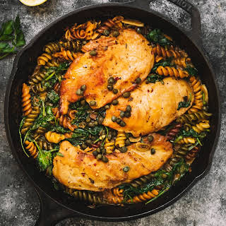 Lemon Cream Chicken Pasta with Caper and Spinach.