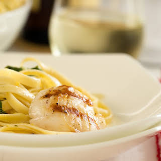 Pan Grilled Scallops And Lemon Fettuccine.