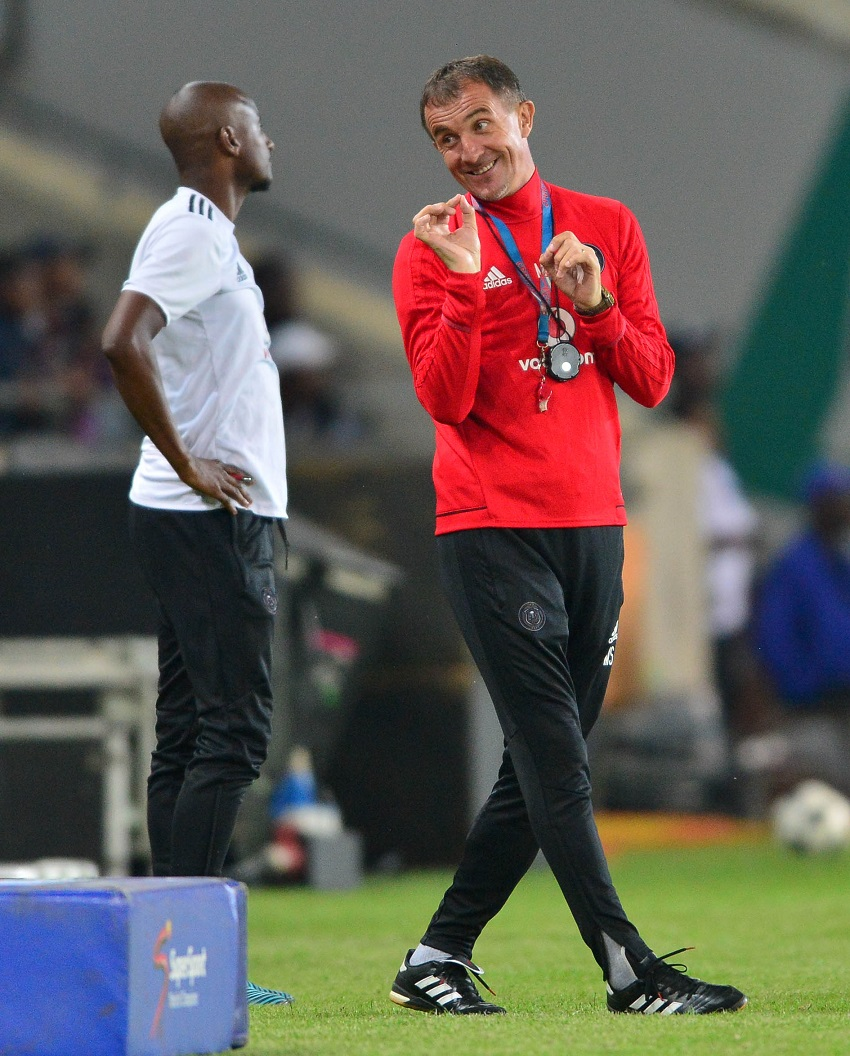 Milutin Sredojevic, coach of Orlando Pirates and Rhulani Mokwena assistant coach of Orlando Pirates during the Absa Premiership 2017/18 football match between Orlando Pirates and AmaZulu at Orlando Stadium, Johannesburg on 09 December 2017.