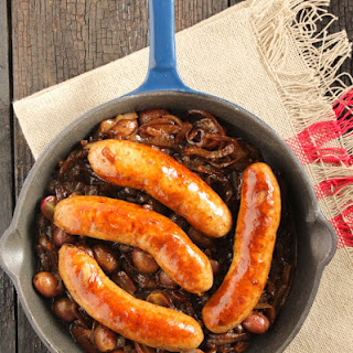 Sausages With Balsamic Onions And Grapes