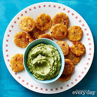 Fried Plantains with Avocado Sauce.