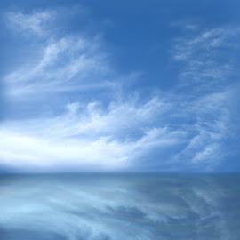 BLUE IS THE COLOUR by Karen Tucker - Digital Art Places ( sky, blue sky, blue sea, reflection, blue, photo manipulation, sea, digital art, arty farty,  )