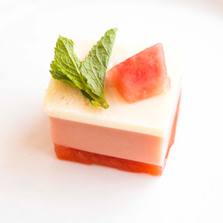 3 Layer Watermelon Gelatin Cubes.