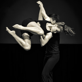 Light as a Feather by Mladen Bozickovic - People Musicians & Entertainers ( body, figure, woman, black & white, action, couple, portraits, dance, people, man, dancer )