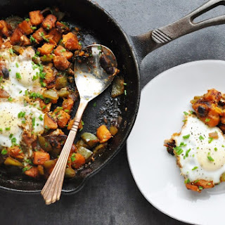 7 Ingredient Spicy BBQ Sweet Potato & Egg Hash (Healthy, Almost Paleo, Antioxidants, Dairy-Free, Gluten-Free, High Protein, High Fiber) Recipe