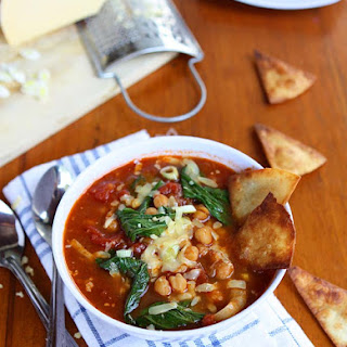 Bok Choy, Chickpea, Tomato Stew with Homemade Tortilla Chips and Gruyere.