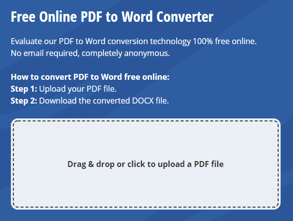 Free online PDF to Word converter by Investintech