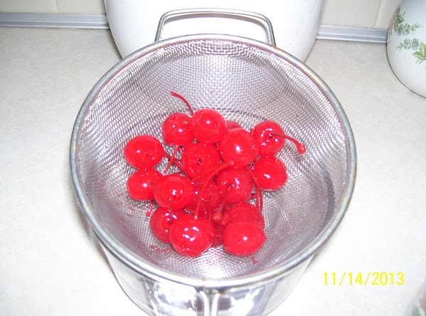 Have already prepared Maraschino Cherries drained and sitting on a paper towel to process.Also...