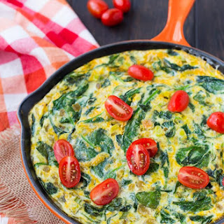 Egg White Frittata with Green Chiles and Spinach - Healthy & Vegetarian.