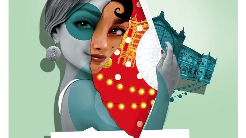 Detalle del cartel de la Feria de Almería 2018 diseñado por Alejandro Lorente.