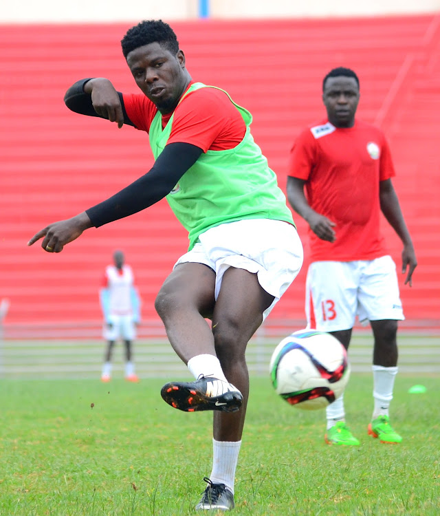 striker Allan Wanga during a past Harambee Stars' training