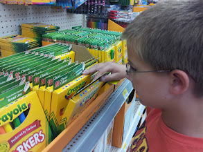 Photo: Mister Man was hilarious trying to choose markers. He was the one who noticed that there were two different kinds - assorted colors and classic colors. Me? I just assumed they were all the same. The kid is sharp!