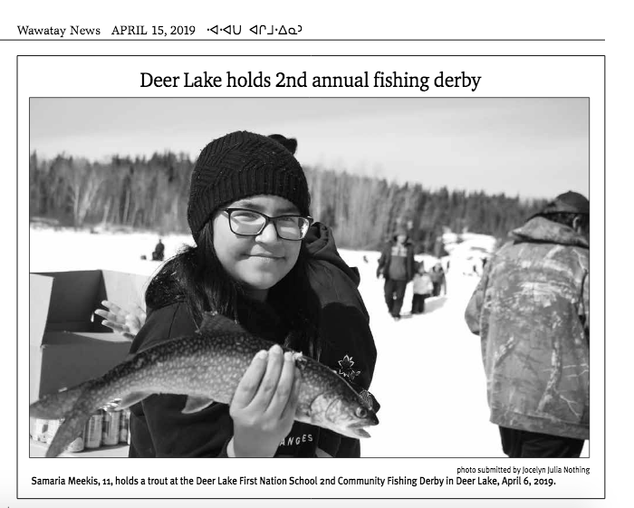 9249754f2ee SCREENSHOT WAWATAY NEWS The best photo from the workshop at the Deer Lake  First Nation School 2nd Community Fishing Derby in Deer Lake