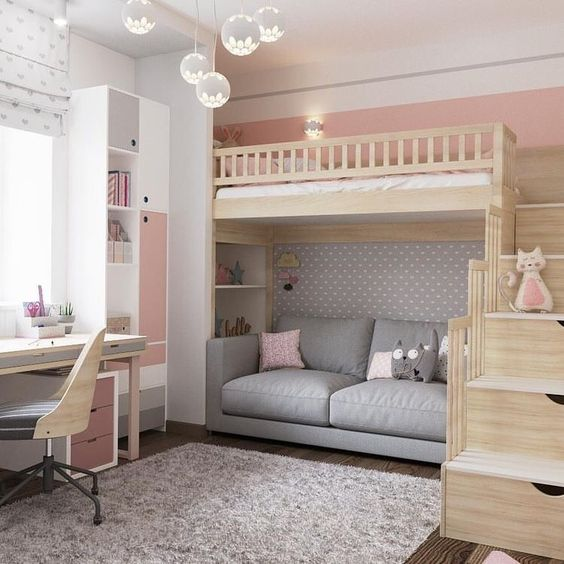 Loft Bed with Sitting Area Underneath