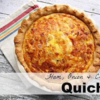 Ham, Onion & Cheese Quiche.