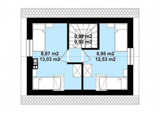 G320 - Budynek rekreacji indywidualnej - Rzut poddasza