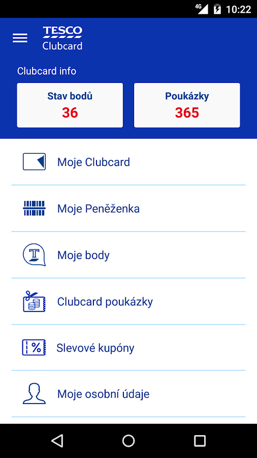 Tesco Clubcard Česká republika- screenshot