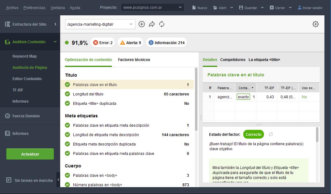 Optimización de contenidos - Auditoría de Página