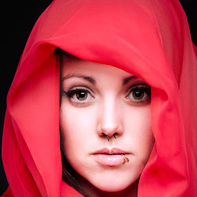 Red Scarf by Chuck Mason - People Portraits of Women ( headshot, red, piercing, portrait, eyes,  )