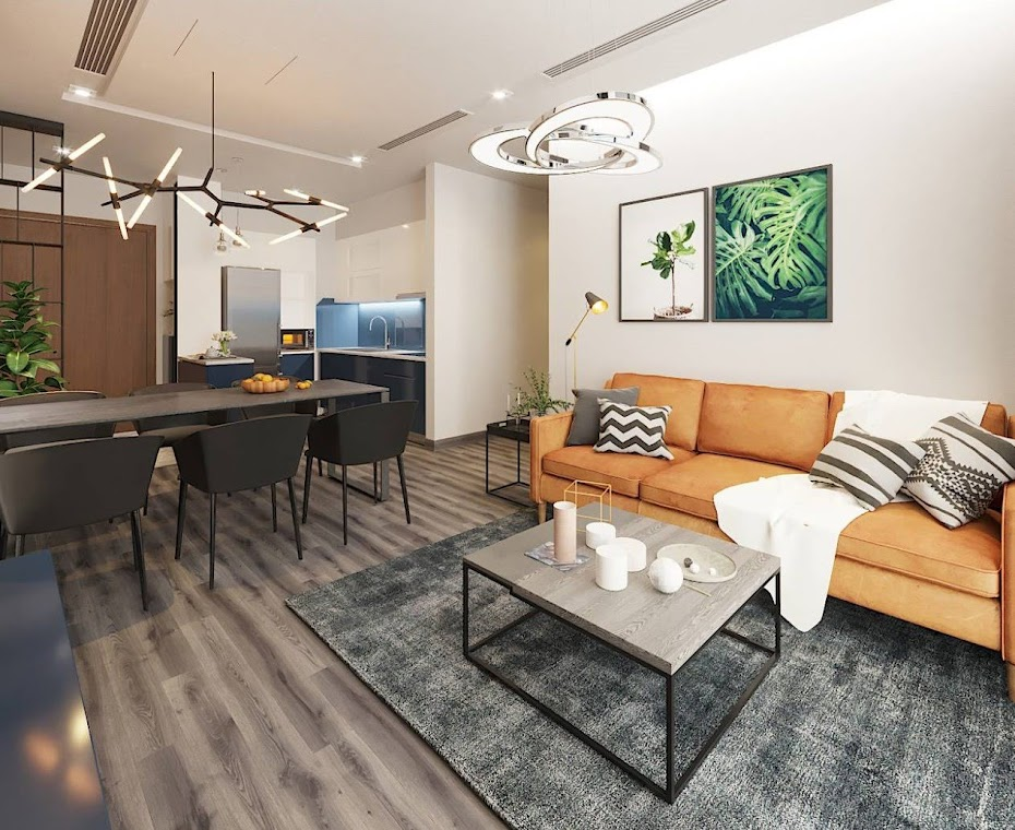 Để cải thiện hạn chế về không gian, thiết kế phòng khách liền kề khu vực bàn ăn ở căn hộ chung cư 6th Element