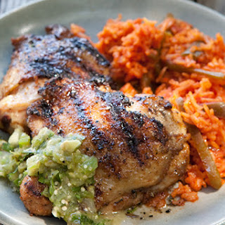 Cumin-Crusted Chicken Thighs with Grilled Tomatillo Salsa