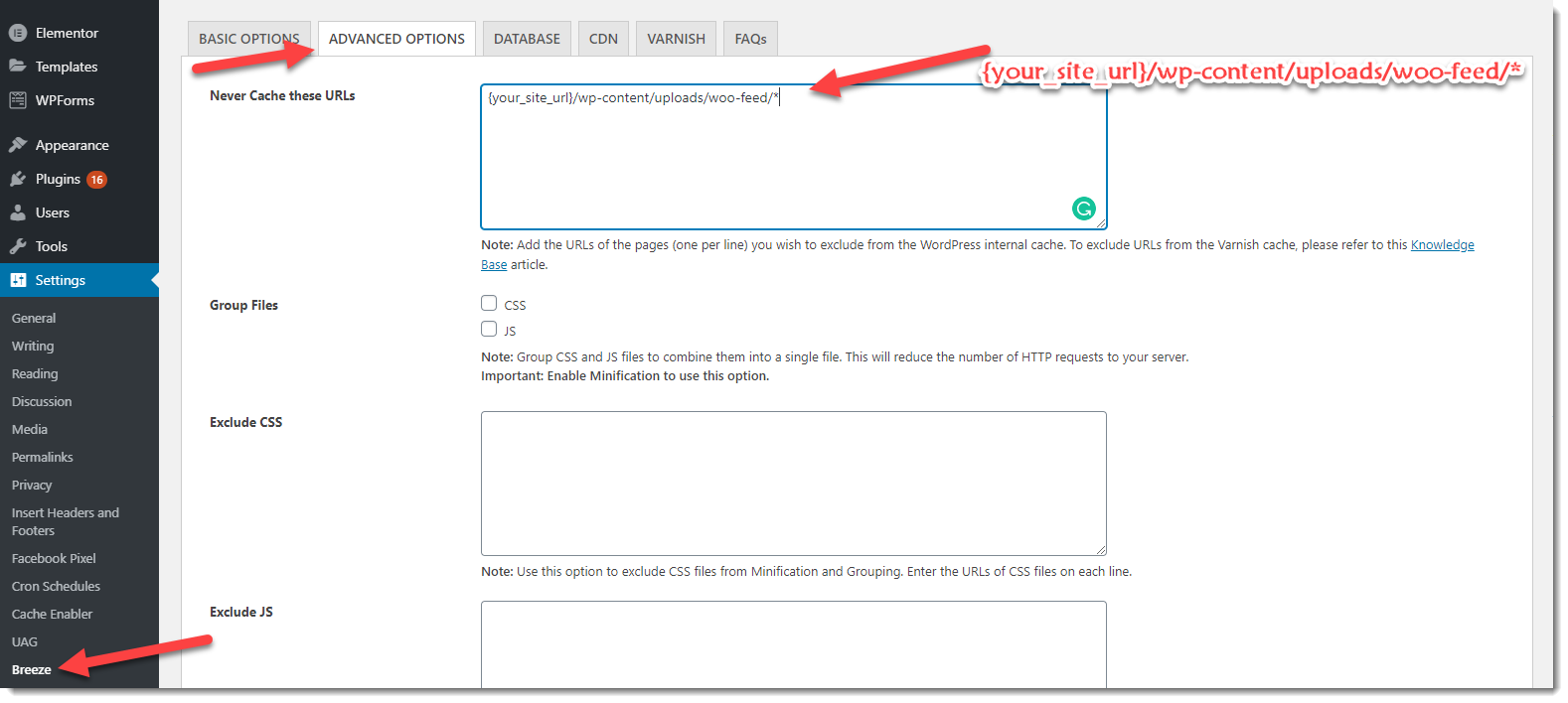 exclude feed file from Breeze cache