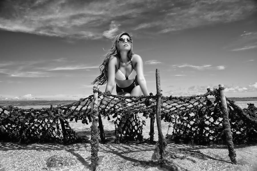 Monica by Theo Widharto - People Portraits of Women ( girl, black and white, beautiful, beach, bikini,  )