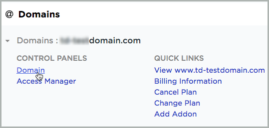 The Domain link is selected on the @ Domains section.