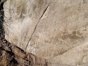 Photo: Previously-buried petroglyphs
