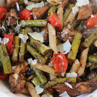 Rustic Balsamic Chicken with tomatoes & asparagus.