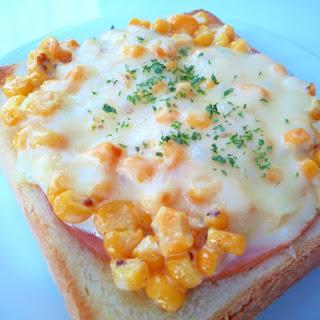 Cheese Toast with Corn, Mayo & Ham
