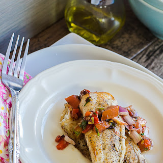 Pan Seared Tilapia with Red Pepper Salsa.