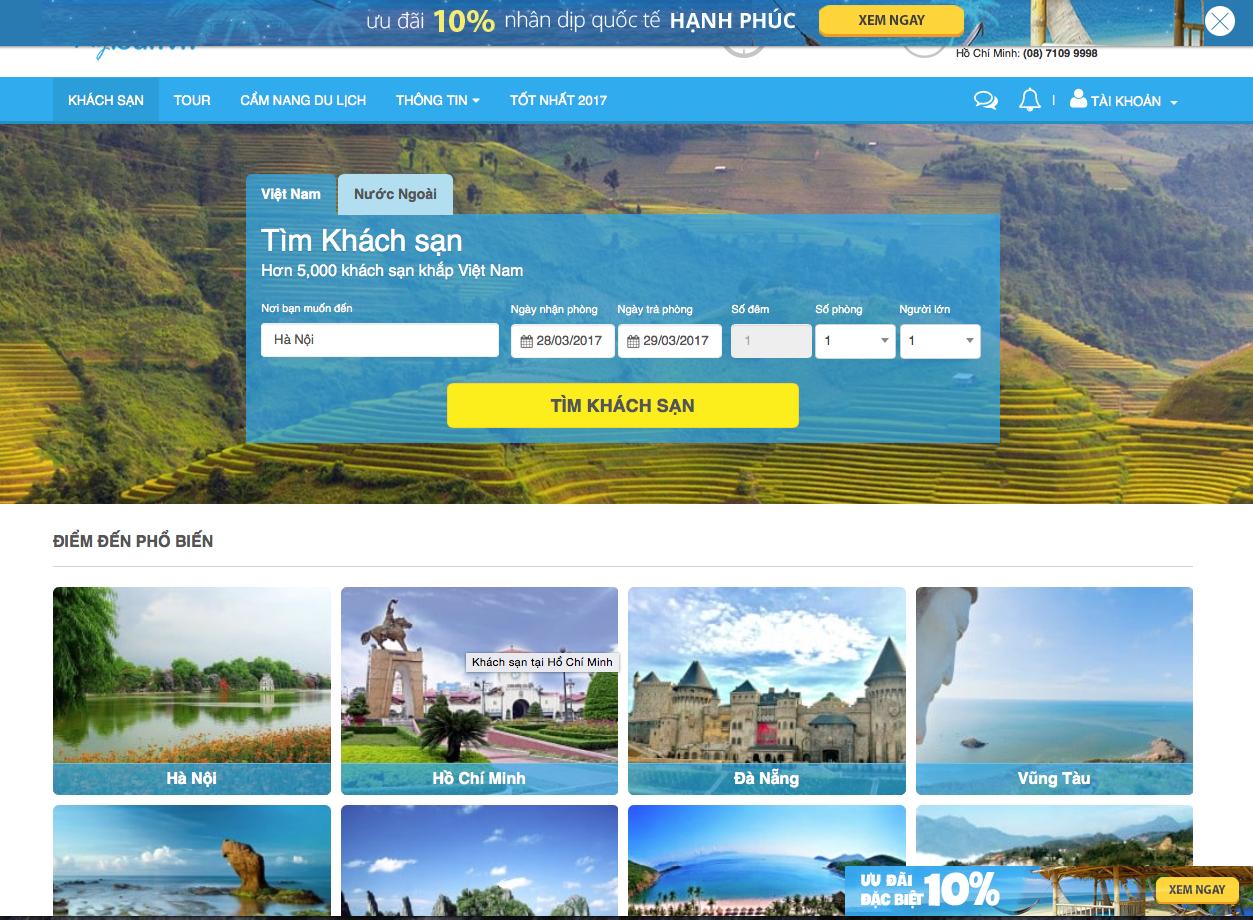 Website thương mại điện tử du lịch với chức năng đặt tour, khách sạn nhanh chóng