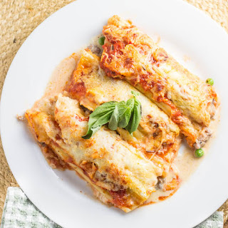 Sausage and Pea Manicotti