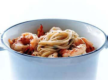 Shrimp & Pasta with Olive Oil and Pine Nuts
