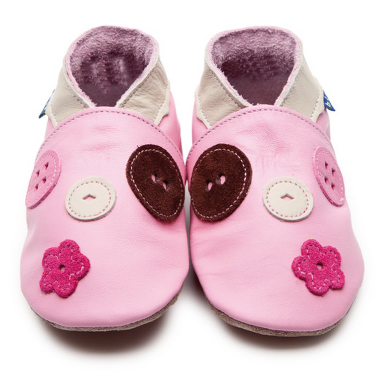 Inch Blue Soft Sole Leather Shoes - Buttons Baby Pink (6-12 months)