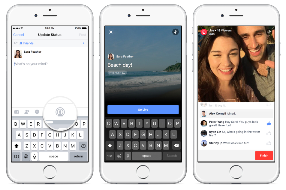 Facebook: arrivano le dirette video