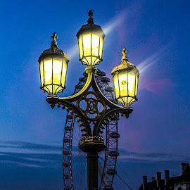 Light time by Raymond Fitzgerald - City,  Street & Park  Night ( london 19, street, background, bridge, foreground, lights )