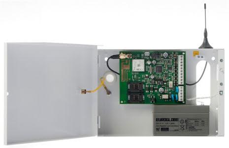 Larmsändare gemino 4 paket i plåtkapsling med transformator, batteri och antenn