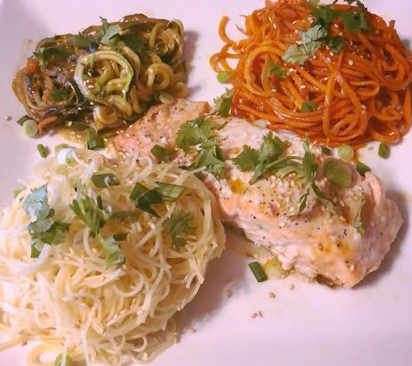 Asian Salmon With Carrots, Zucchini & Noodles Recipe